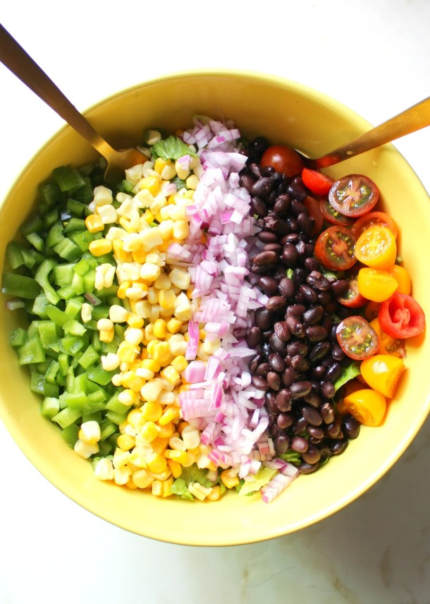 This Southwest Chopped Salad with Vegan Cilantro Ranch is perfect for Summer. A crowd pleaser that is ready in just 10 minutes!   ThisSavoryVegan.com
