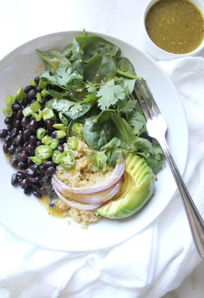For a quick and easy meal try theseBlack Bean Quinoa Buddha Bowls with Salsa Verde Vinaigrette. Healthy, simple and easy to customize | ThisSavoryVegan.com