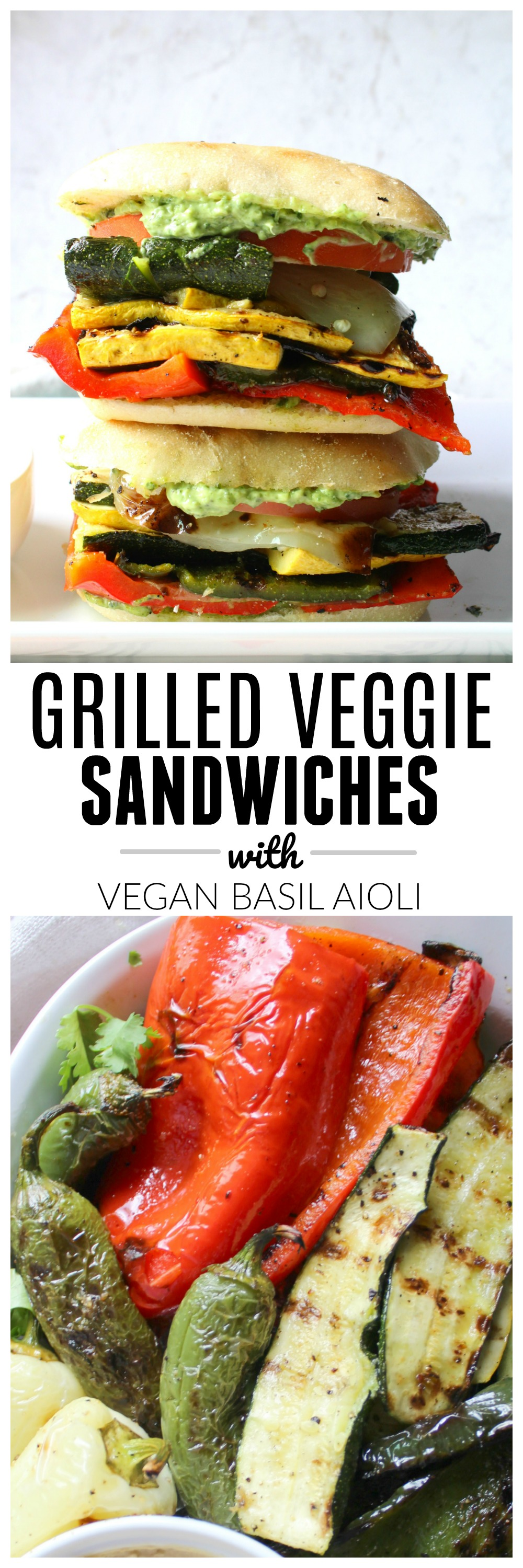 This Grilled Veggie Sandwich with Vegan Basil Aioli is packed full of marinated veg and a creamy spread filled with garlic and fresh basil   ThisSavoryVegan.com