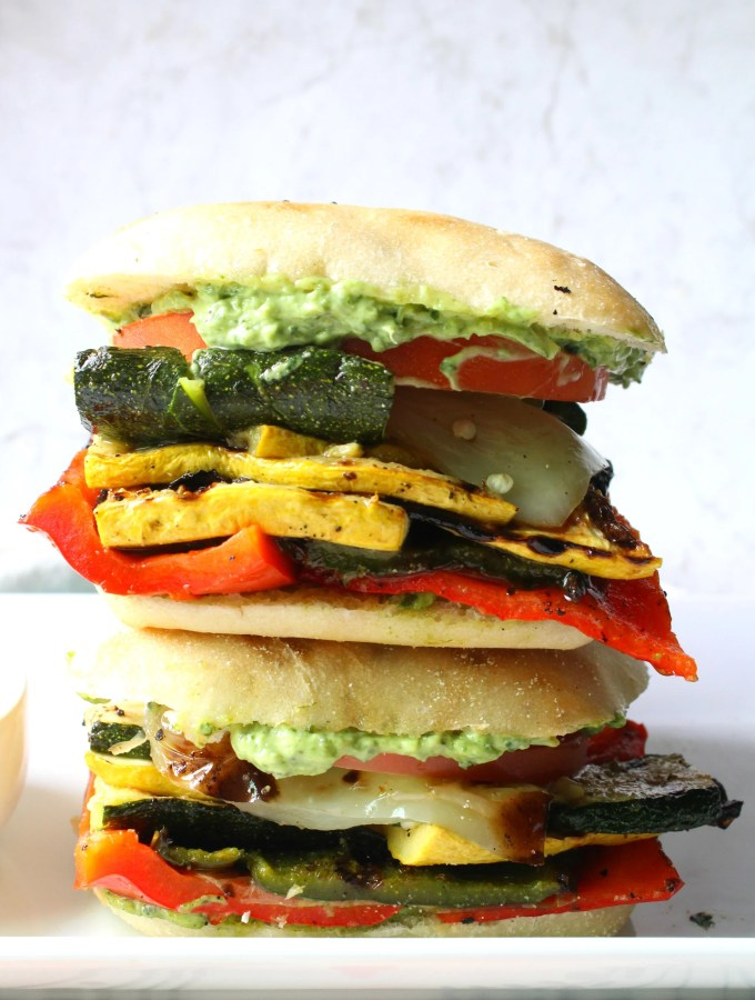 This Grilled Veggie Sandwich with Vegan Basil Aioli is packed full of marinated veg and a creamy spread filled with garlic and fresh basil | ThisSavoryVegan.com