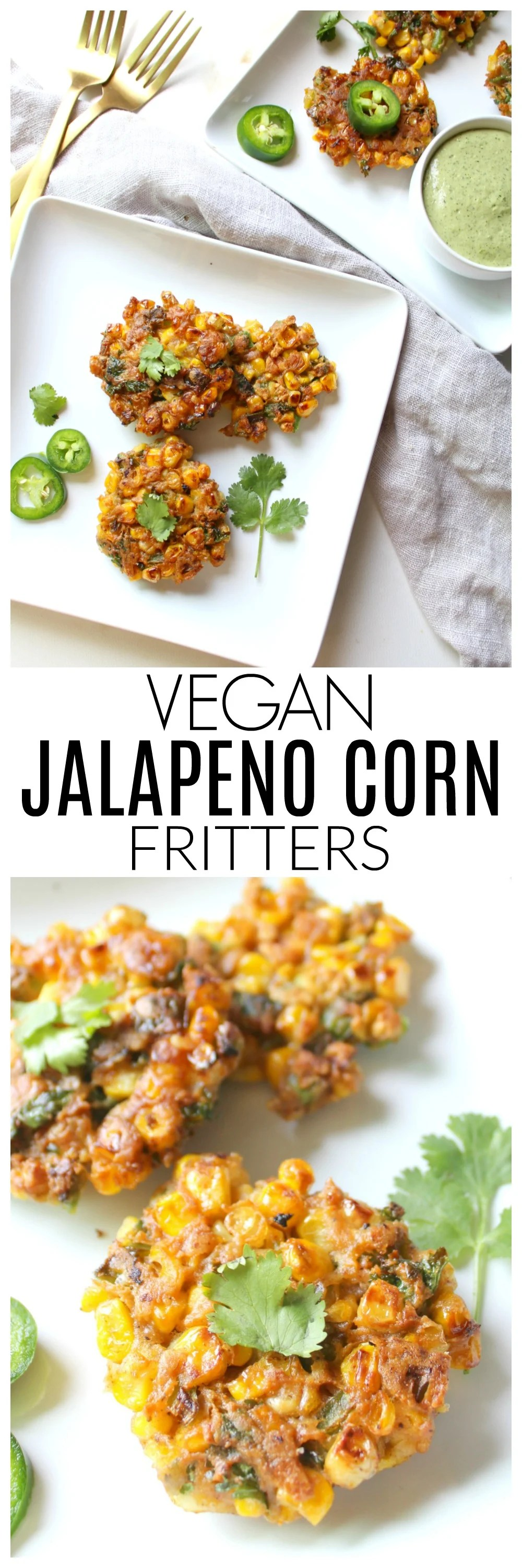 TheseVegan Jalapeño Corn Fritters are crispy and packed full of flavor. Perfect as an appetizer, snack or serve over a salad for a full meal | ThisSavoryVegan.com