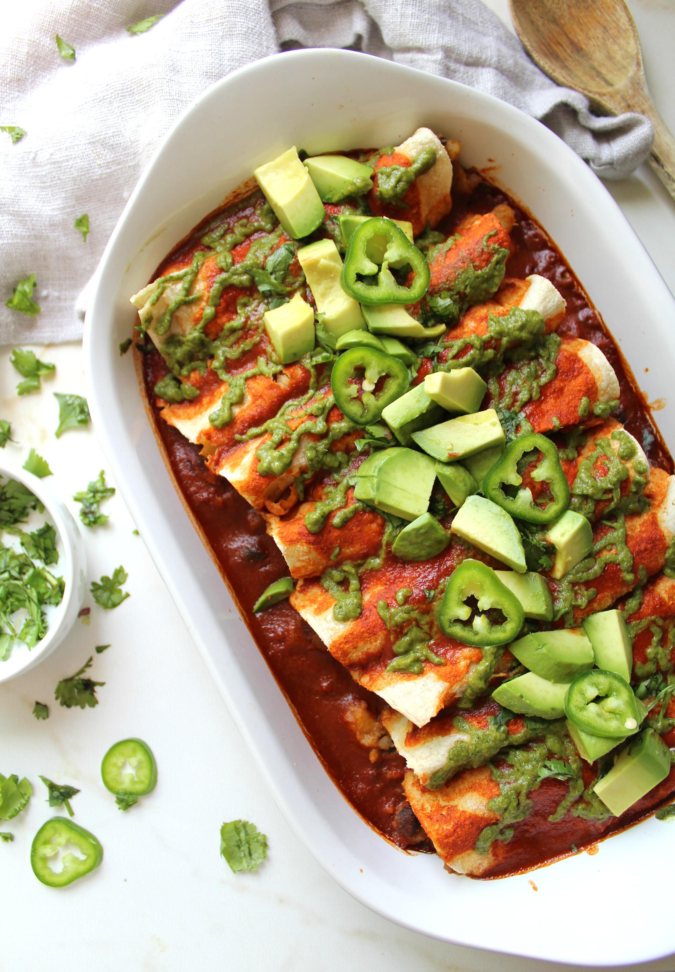 Black Bean Potato Vegan Enchiladas With Avocado Cilantro Sauce This Savory Vegan