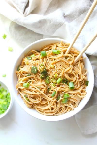 TheseSimple Sesame Ginger Soba Noodles are the perfect vegan one pot meal for busy weeknights. Ready in 10 just minutes!   ThisSavoryVegan.com