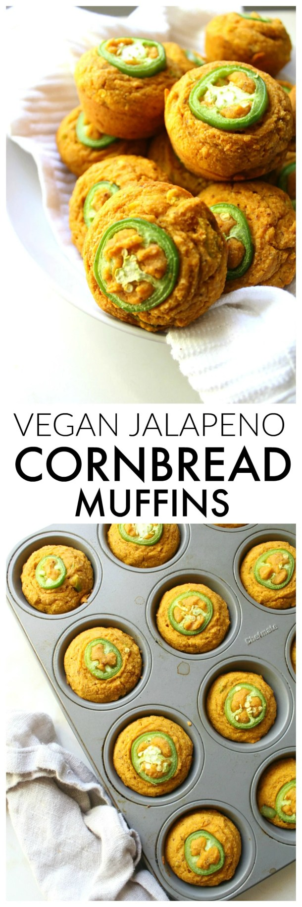 These Vegan Jalapeño Cornbread Muffins are the perfect combo of spicy and sweet. Serve with vegan butter for a delicious & savory side dish | ThisSavoryVegan.com #thanksgiving #vegan
