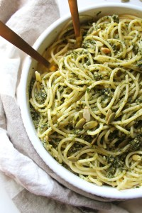 This Vegan Pumpkin Seed Pesto Pasta is the perfect Fall meal - fresh basil is combined with pumpkin seeds, garlic & olive oil for an easy 15 minute dinner!   ThisSavoryVegan.com #vegan #veganpasta