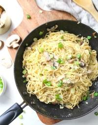 Simple and delicious, theseVegan Mushroom Garlic Parmesan Noodles are a delicious mix of angel hair pasta, sliced mushrooms, fresh garlic and parmesan   ThisSavoryVegan.com #vegan #veganrecipes