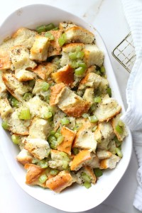 ThisTraditional French Bread Vegan Stuffing is easy to make and has all of the holiday flavors you've grown up loving but vegan-ized | ThisSavoryVegan.com #vegan #thanksgiving #veganthanksgiving