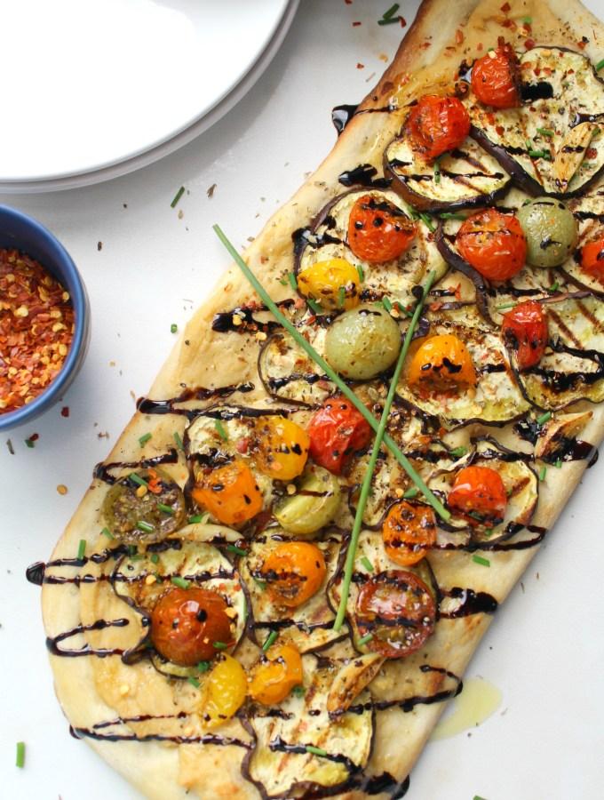 Vegan Eggplant & Hummus Flatbread