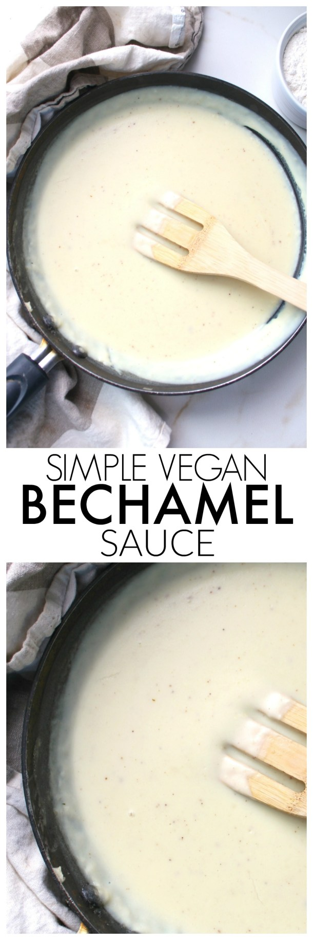 A classic creamy white sauce is vegan-ized with this Simple Vegan Bechamel Sauce recipe. The perfect base sauce for any pasta dish | ThisSavoryVegan.com #vegan