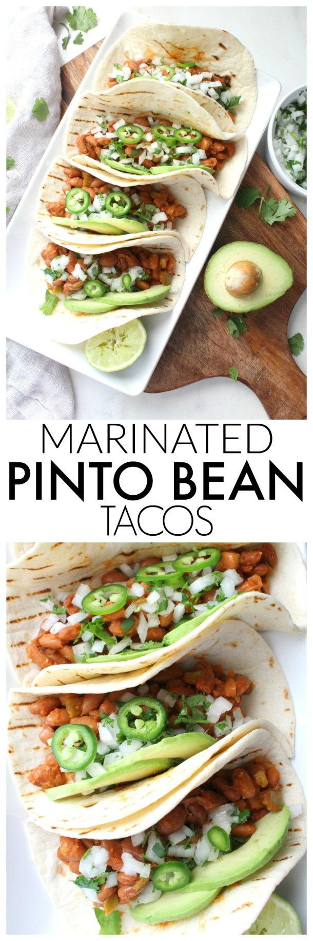TheseMarinated Pinto Bean Tacos are healthy, vegan and super simple. With just a few ingredients and 30 minutes, you can have Taco Tuesday at home! | ThisSavoryVegan.com #vegan #vegantacos