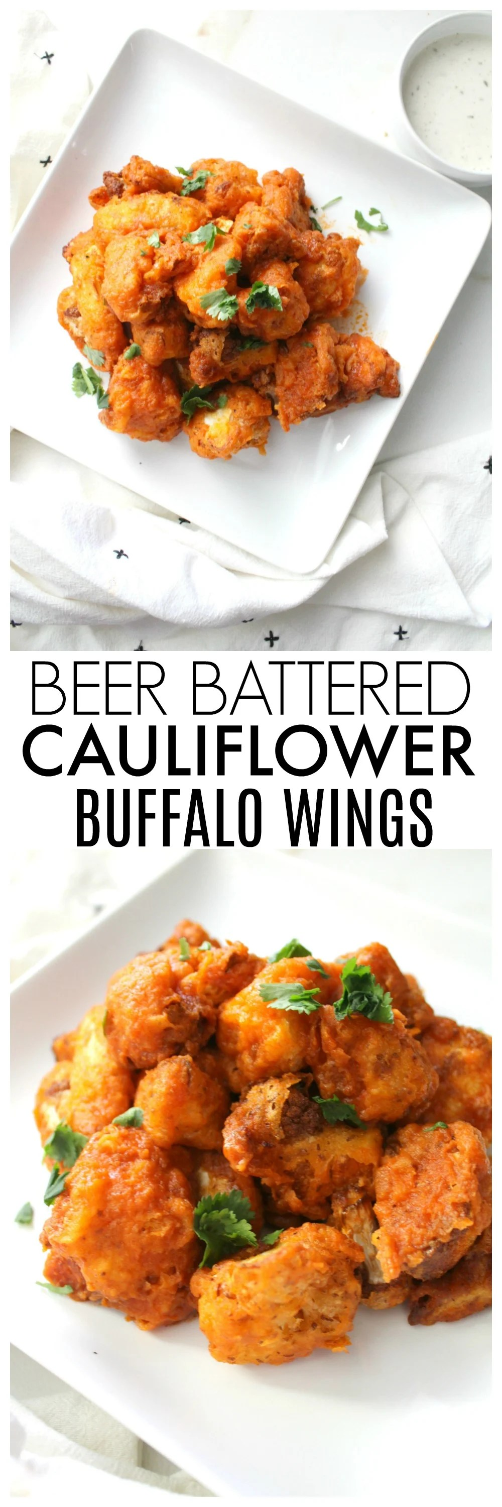 TheseBeer Battered Cauliflower Buffalo Wings are the perfect balance of spice and crunch. A vegan game day recipe that everyone will love!  ThisSavoryVegan.com #vegan #gameday