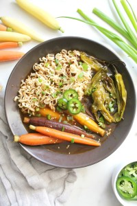 This Roasted Vegetable Vegan Ramen is bursting with flavor - roasted carrots and shishito peppers simmer in a vegan beef broth before being topped off with ramen noodles | ThisSavoryVegan.com #vegan #veganuary