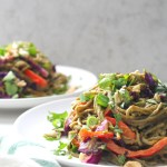 These Warm Spicy Peanut Soba Noodles are the perfect combination ofsautéed veggies, warm soba noodles and spicy peanut sauce. A vegan dinner that is ready in just 30 minutes! | ThisSavoryVegan.com #vegan #noodles