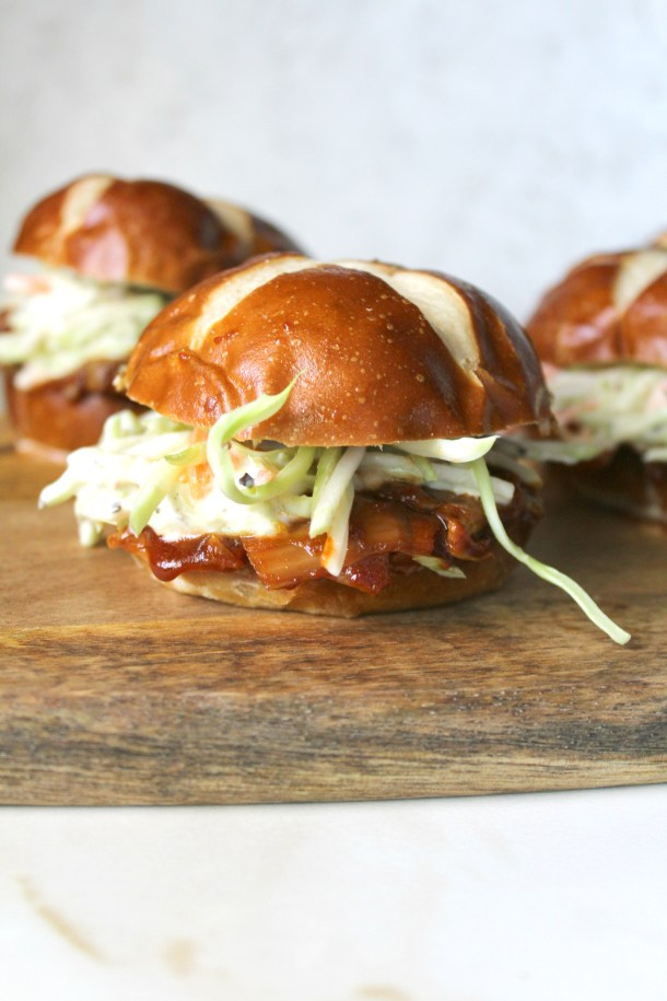 """ThesePulled Artichoke BBQ Sliders are the perfect summer burger. Artichokes have a """"meaty"""" texture that when combined with BBQ sauce is truly mouth watering 