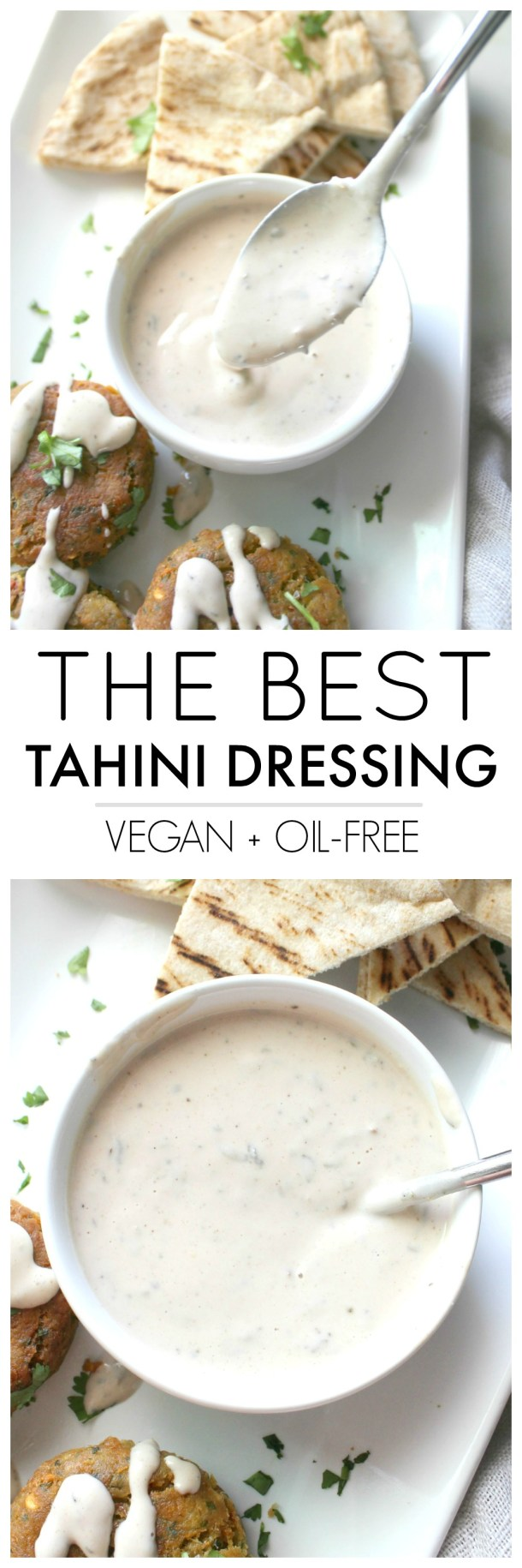 With just 6 ingredients and 60 seconds, you will have The Best Tahini Dressing ready to go. Serve this over salads, buddha bowls or roasted potatoes. 100% vegan and no blending required | ThisSavoryVegan.com #vegan #thissavoryvegan #healthyrecipes