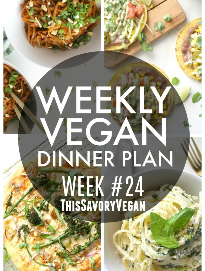 5 nights worth of vegan dinners to help inspire your menu. Choose one recipe to add to your rotation or make them all - shopping list included | ThisSavoryVegan.com #thissavoryvegan #vegan #mealprep