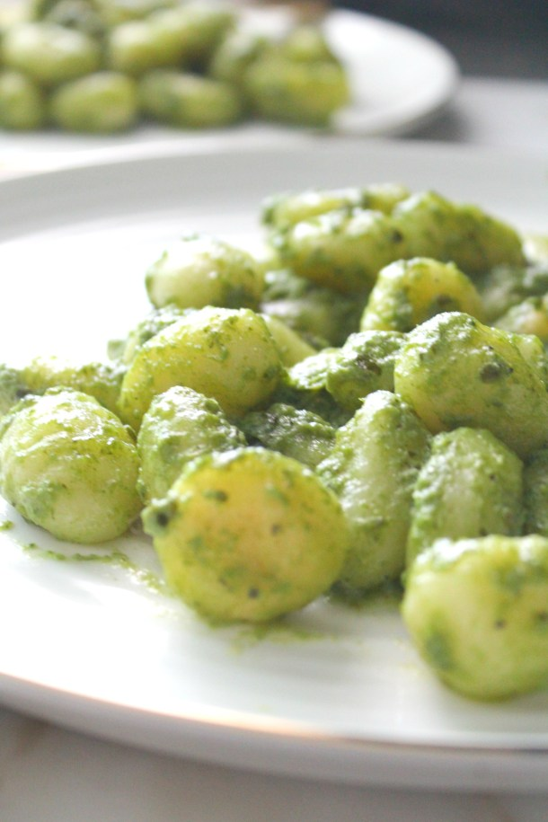 ThisPan Seared Vegan Pesto Gnocchi combines gnocchi that have been browned in vegan butter with fresh pesto for a quick weeknight dinner   ThisSavoryVegan.com #thissavoryvegan #veganpasta #pesto