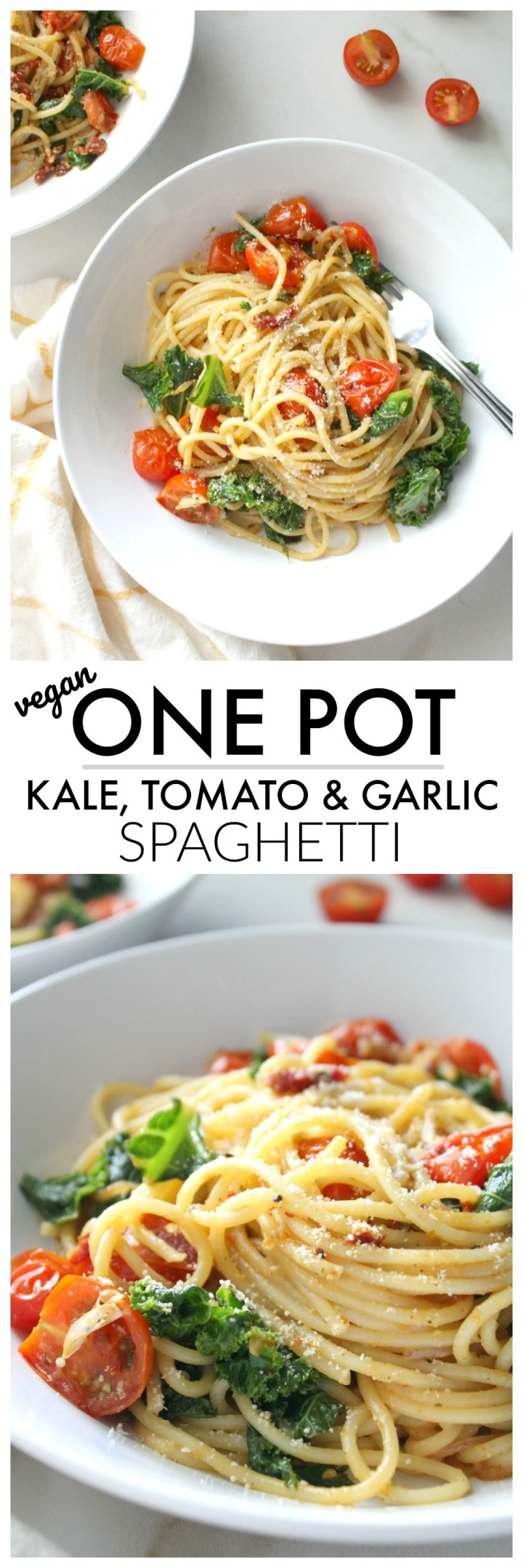 Keep dinner simple and delicious with thisOne Pot Kale, Tomato & Garlic Spaghetti. A simple vegan pasta dish that is packed full of veggies and bright flavors | ThisSavoryVegan.com #thissavoryvegan #veganpasta #plantbased