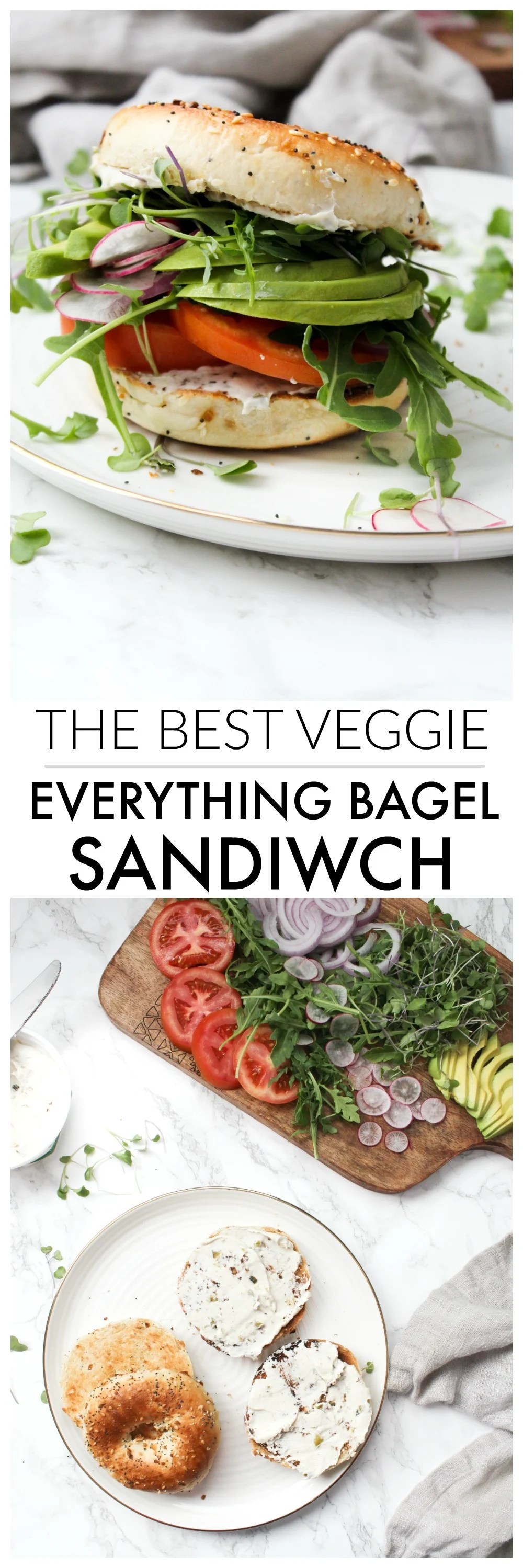 The Best Veggie Everything Bagel Sandwich - a toast bagel is loaded up with vegan cream cheese, avocado and a whole lotta veggies. Perfect make ahead lunch | ThisSavoryVegan.com #thissavoryvegan #brunch #sandwich