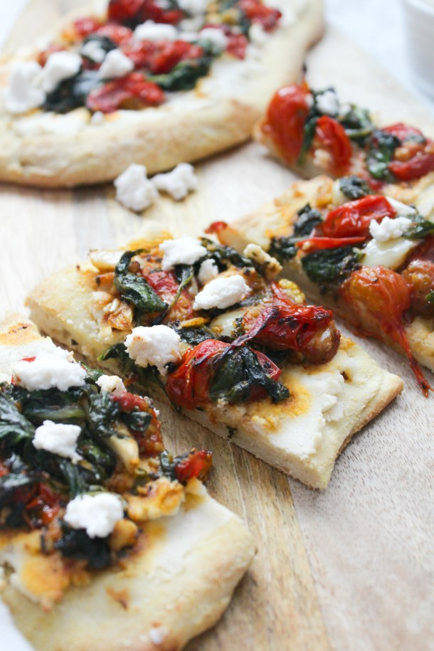 These Vegan Cherry Tomato Ricotta Flatbreads are simple to make, easier to eat and perfect for a quick dinner or party appetizer | ThisSavoryVegan.com #thissavoryvegan #veganpizza