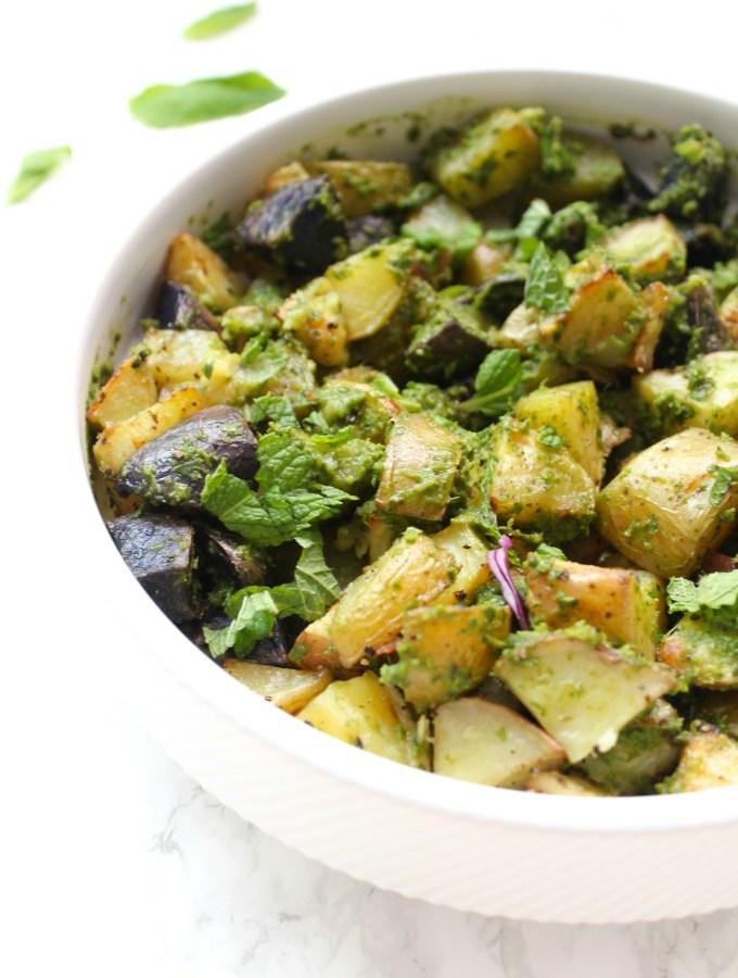 Roasted Garlic and Pesto Potatoes
