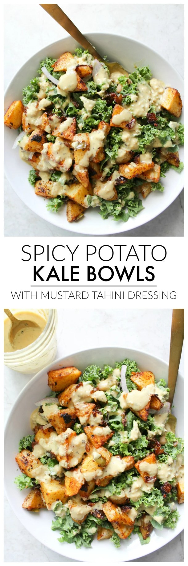 These Spicy Potato Kale Bowls with Mustard Tahini Dressing are the perfect Fall meal. Crispy potatoes, red onion, marinated kale and a delicious creamy dressing. Simple and healthy | ThisSavoryVegan.com #thissavoryvegan #veganbowl #healthy