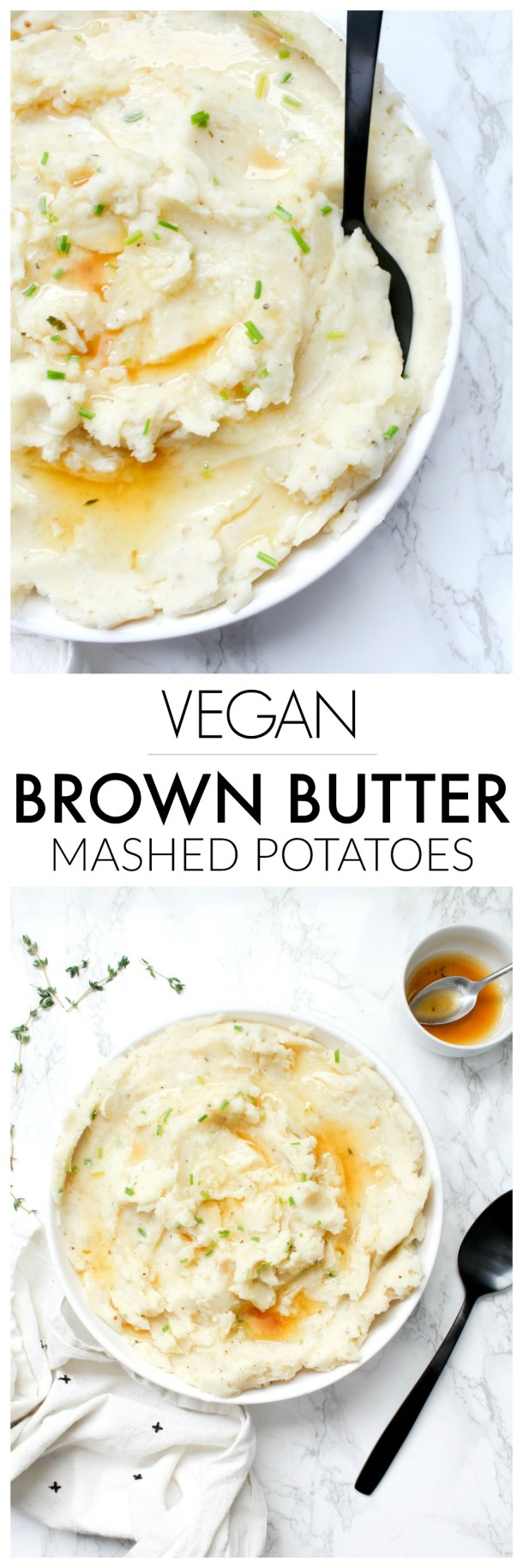 These Vegan Brown Butter Mashed Potatoes are what potato dreams are made of - these will be the star of the show at your next holiday dinner | ThisSavoryVegan.com #thissavoryvegan #veganthanksgiving #mashedpotatoes