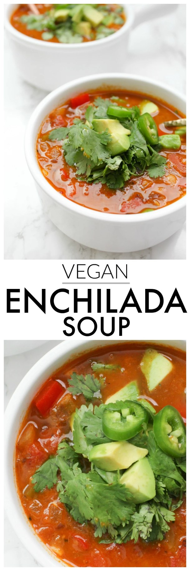 ThisVegan Enchilada Soup is loaded with fresh veggies and two types of beans - ready in 30 minutes and packed with tons of flavor! | ThisSavoryVegan.com #thissavoryvegan #vegansoup #vegan