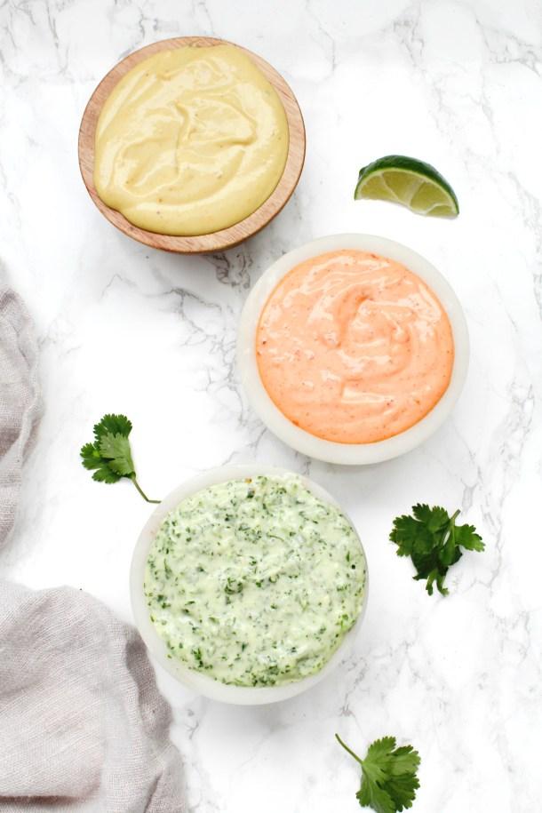 3 Vegan Dipping Sauces - Sriracha Mayo, Jalapeño Cilantro and Honey Mustard | ThisSavoryVegan.com #thissavoryvegan #dip #vegandip