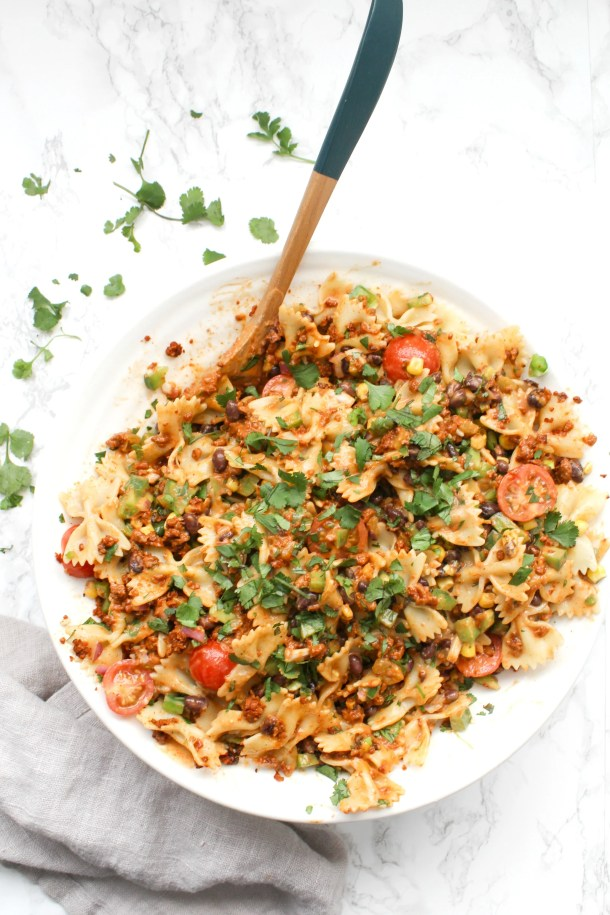 Creamy Vegan Southwest Pasta Salad - bow tie pasta, tons of veggies & soyrizo topped off with a creamy southwest dressing that is to die for | ThisSavoryVegan.com #thissavoryvegan #vegan #pastasalad
