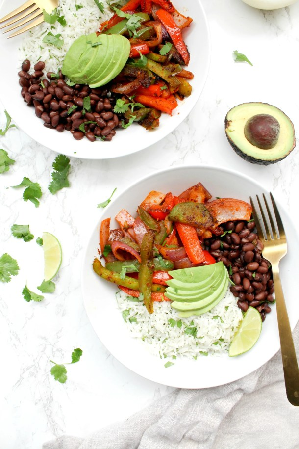 These Fajita Veggie Bowls with Cilantro Lime Rice are a tastier version of Chipotle that you can make at home in 30 minutes! | ThisSavoryVegan.com #thissavoryvegan #buddhabowl