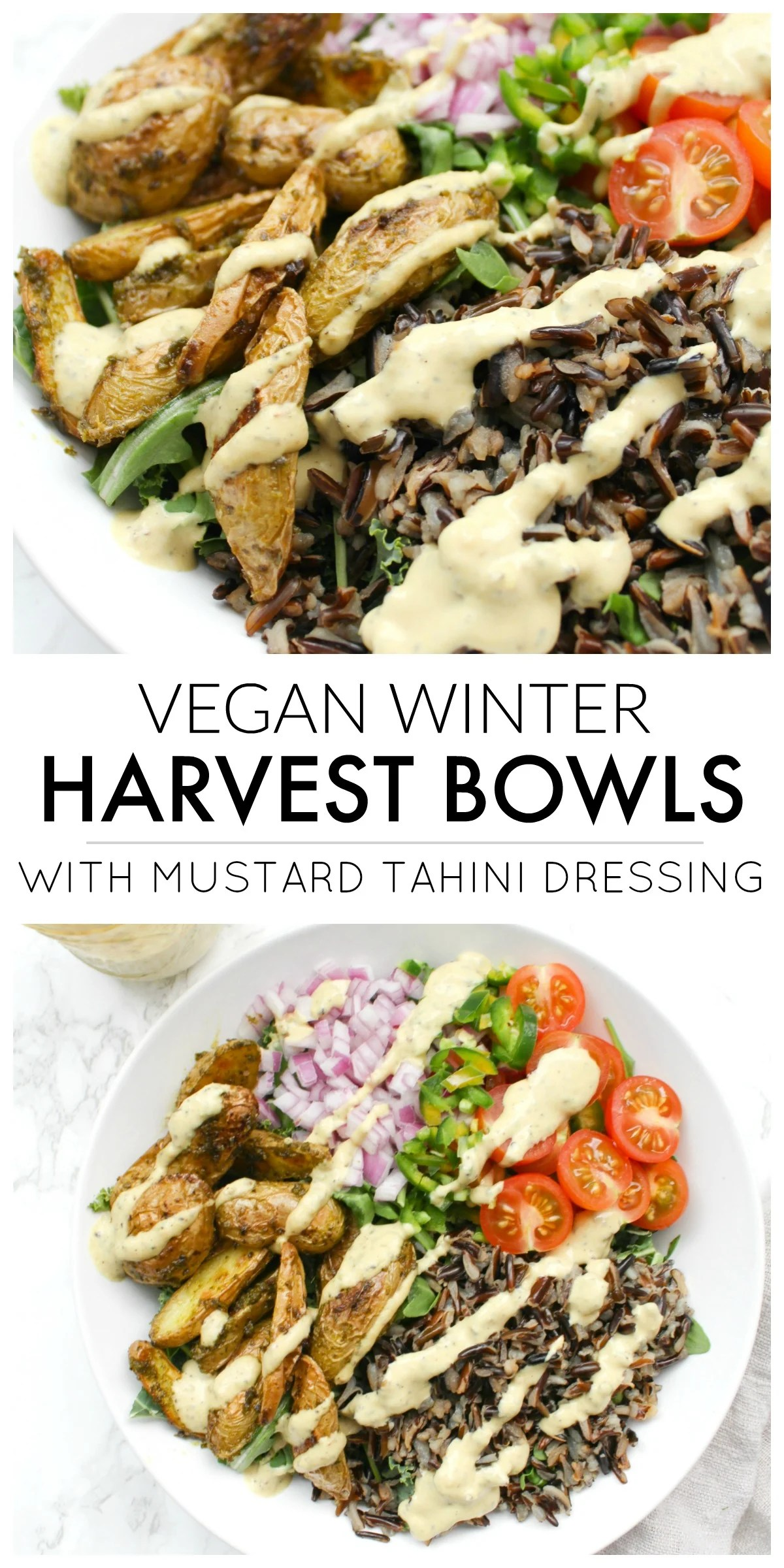 Both healthy and delicious, these Vegan Winter Harvest Bowls with Mustard Tahini Dressing are perfect for meal prepping | ThisSavoryVegan.com #thissavoryvegan #mealprep