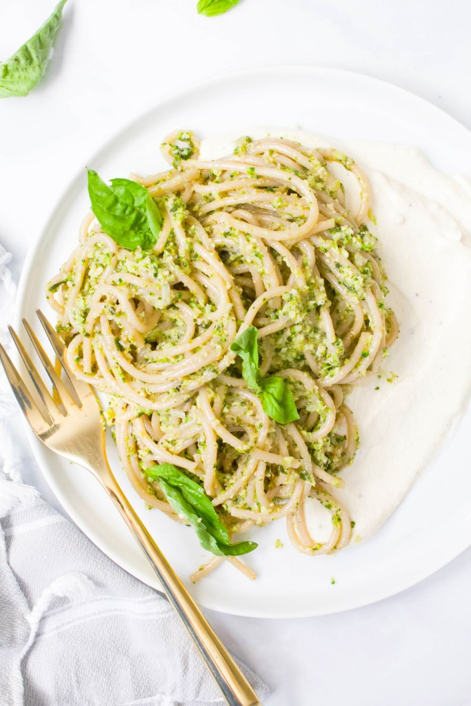 This Vegan Broccoli Pesto Pasta With Whipped Tofu Ricotta is filled with a chunky, healthy pesto and creamy vegan ricotta. A comforting and bright meal   ThisSavoryVegan.com #thissavoryvegan #vegan #veganpasta