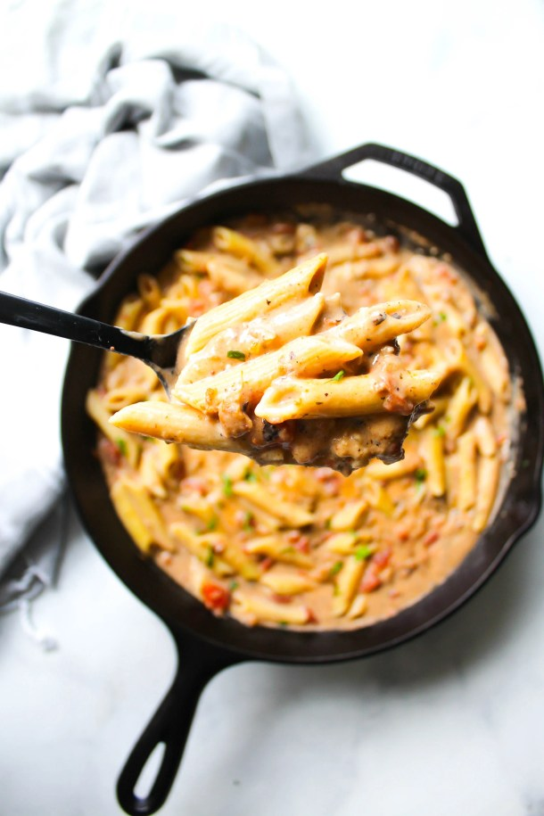 The perfect weeknight dinner, this Creamy Vegan Sausage & Pasta Skillet is ready in less than 30 minutes and requires just a few ingredients!   ThisSavoryVegan.com #thissavoryvegan #veganpasta #skilletmeal