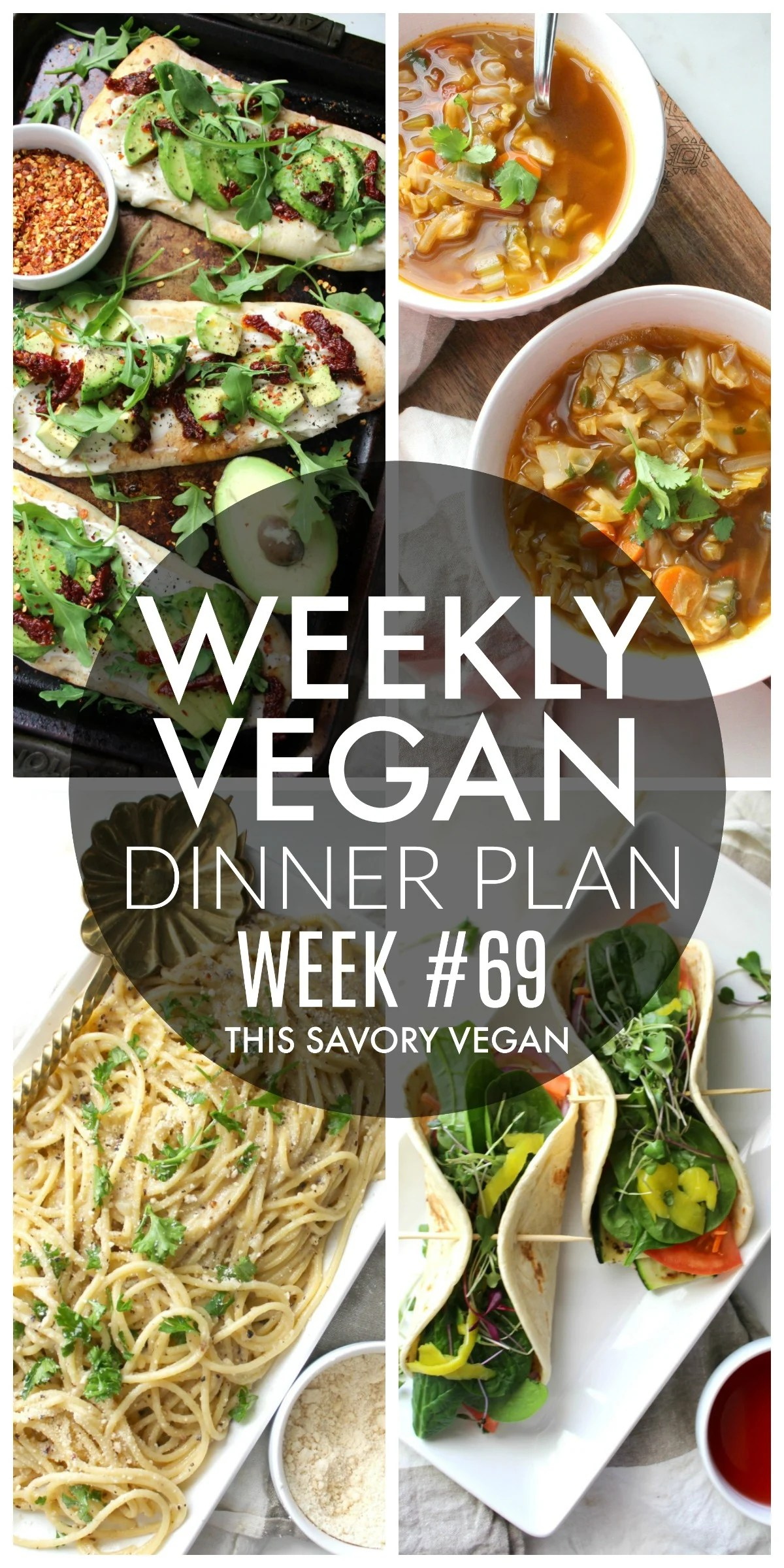 Weekly Vegan Dinner Plan #69 - five nights worth of vegan dinners to help inspire your menu. Choose one recipe to add to your rotation or make them all - shopping list included | ThisSavoryVegan.com #thissavoryvegan #mealprep #dinnerplan