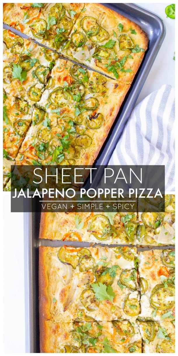 If you love a good popper then you are going to love this Sheet Pan Vegan Jalapeño Popper Pizza - the perfect amount of creaminess and spice | ThisSavoryVegan.com #thissavoryvegan #veganpizza #jalapenopopperpizza