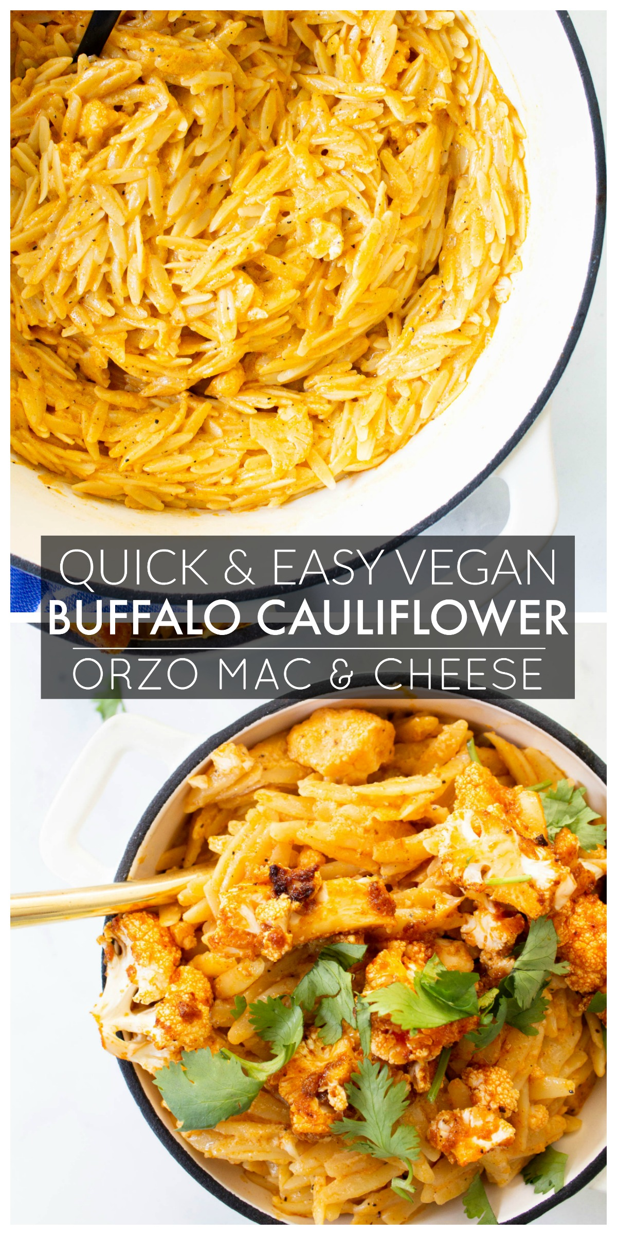 This Vegan Buffalo Cauliflower Orzo Mac and Cheese is creamy, dreamy comfort food. The perfect amount of spice to kick up this classic recipe | ThisSavoryVegan.com #thissavoryvegan #veganmacandcheese #buffalomacandcheese