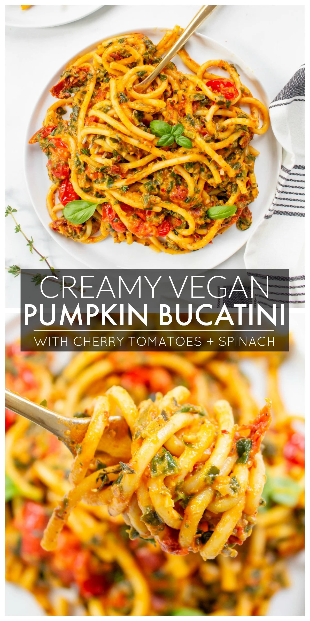This Creamy Vegan Pumpkin Bucatini is filled with cherry tomatoes, spinach and garlic. It is lightened up by using pumpkin puree and hummus for the creamy sauce | ThisSavoryVegan.com #thissavoryvegan #veganpasta #pumpkinpasta