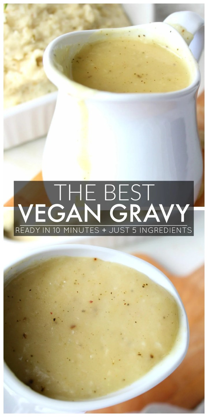Your Thanksgiving dinner will be extra tasty with this recipe for The Best Vegan Gravy. Smooth, savory and packed full of flavor, this stuff is the real deal | ThisSavoryVegan.com #vegan #veganthanksgiving