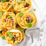 These Vegan Buffalo Chickpea Salad Pinwheels are the ultimate party snack or make-ahead lunch. Slightly spicy, perfectly crunchy and healthy | ThisSavoryVegan.com #thissavoryvegan #pinwheels #veganlunch