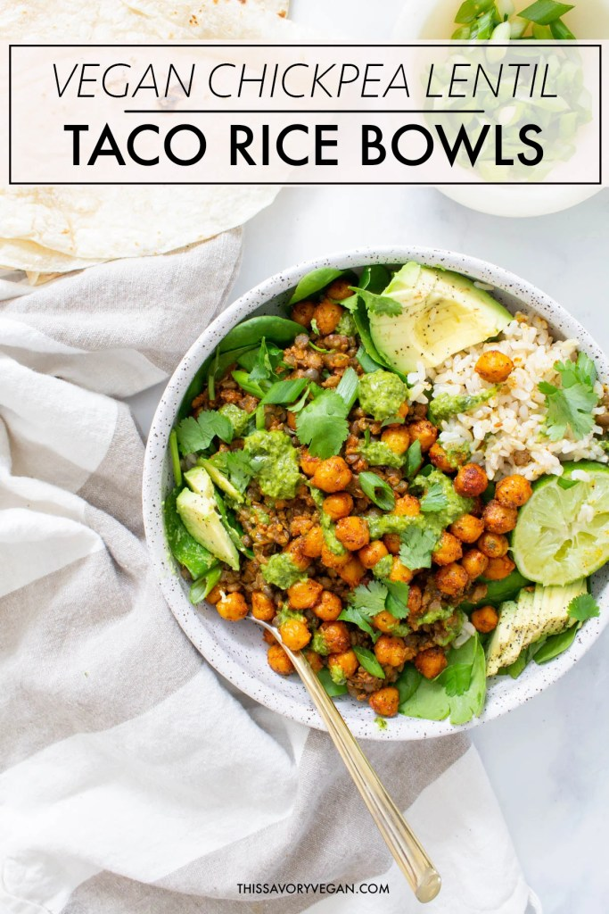 These Chickpea Lentil Taco Rice Bowls are filled with brown rice, spinach, roasted chickpeas & vegan taco lentil meat. All topped off with chimichurri | ThisSavoryVegan.com #thissavoryvegan #veganrecipe #vegantacobowl