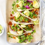 These Roasted Potato Tacos with Chimichurri are perfectly seasoned, bursting with flavor and the perfect at home vegan Taco Tuesday meal!   ThisSavoryVegan.com #thissavoryvegan #vegantacos