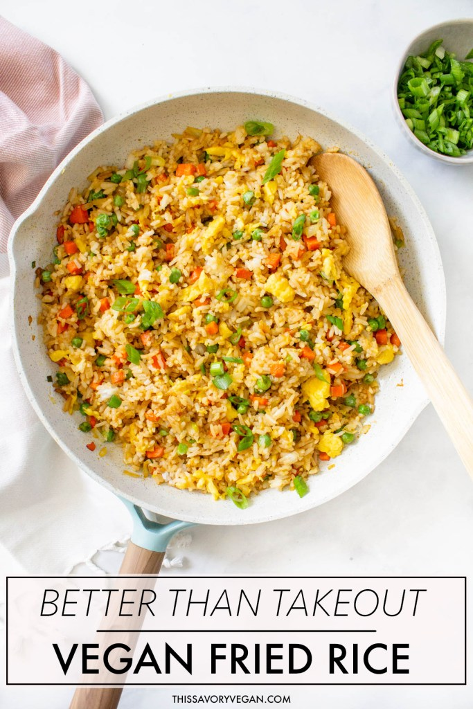 Vegan Fried Rice is not only super easy to make it is also SUPER tasty. With a few easy swaps you can have a better than take-out vegan meal at home | ThisSavoryVegan.com #thissavoryvegan #veganfriedrice