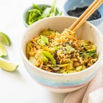 These Vegan Ramen Noodles with Mushrooms & Bok Choy are simple, veggie-packed and totally delicious. Perfect vegan dinner | ThisSavoryVegan.com #vegan #veganramen #vegannoodles