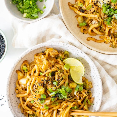 This Vegan Udon Noodle Cabbage Stir Fry is a quick weeknight dinner that is better than takeout. Ready in less than 30 minutes | ThisSavoryVegan.com #thissavoryvegan #veganstirfry #udon