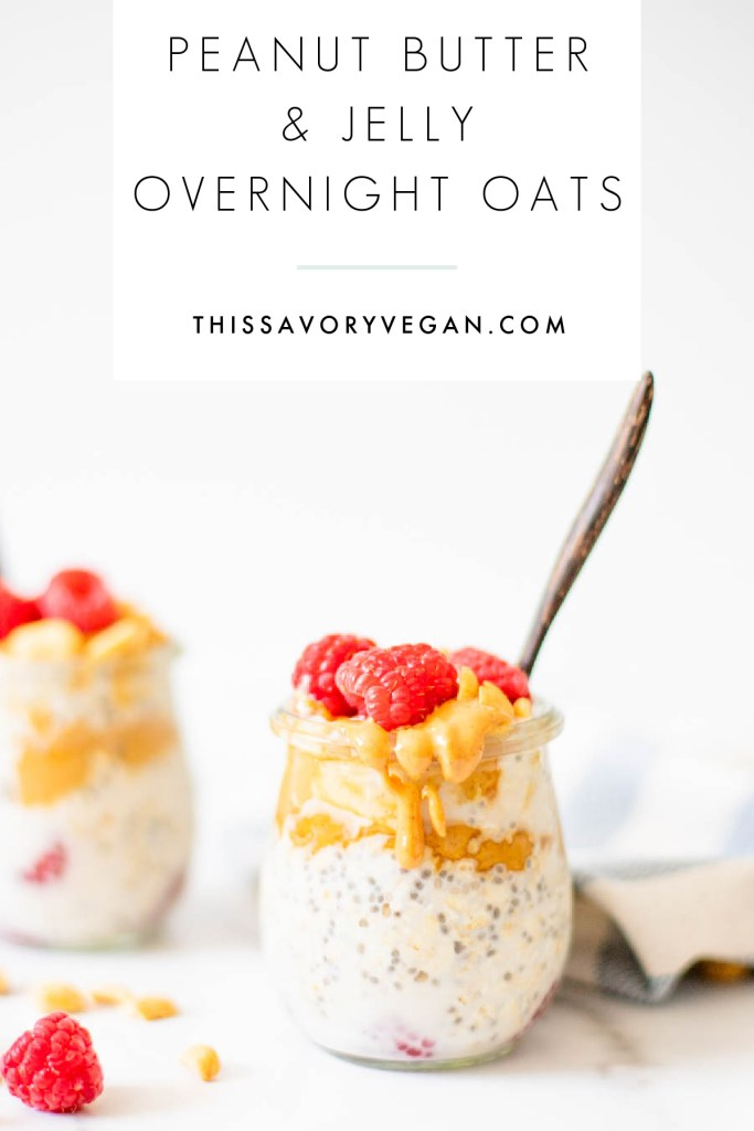 These Peanut Butter & Jelly Overnight Oats are the perfect healthy vegan breakfast or snack. Made with fresh raspberries and topped with crunchy peanuts | ThisSavoryVegan.com #thissavoryvegan #overnightoats #healthybreakfast