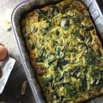 Red Kale, Sausage and Cheddar Egg Bake
