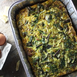 Red Kale, Sausage and White Cheddar Egg Bake