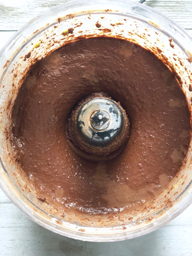 avocado brownie mix in a food processor