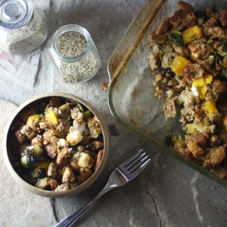 Roasted Winter Vegetable Stuffing with Turkey Sausage and Goat Cheese